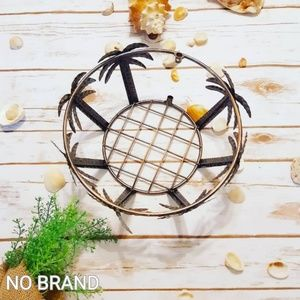 Palm Tree Tropical Wire Farm Bread Basket